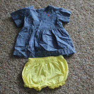 Carter's 3M Yellow Shorts Blue Dotted Top